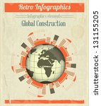 Concept of Global Construction. Vintage Infographics - Building under Construction around the Planet Earth. Vector Illustration. - stock vector