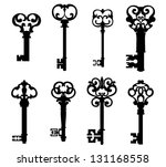 Old keys set with decorative elements in retro style. Jpeg (bitmap) version also available in gallery - stock vector
