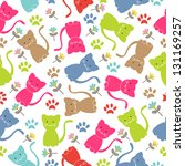 cute cat seamless | Shutterstock .eps vector #131169257