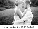 happy couple on wedding day.... | Shutterstock . vector #131174147