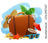 background,bag,baggage,beach,briefcase,case,cloud,coconut,colorful,design,detailed,elements,fun,glasses,grunge