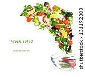 flying fresh salad isolated... | Shutterstock . vector #131192303