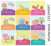 cute farm animal cards | Shutterstock .eps vector #131194397