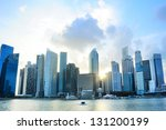 Singapore downtown at sunset - stock photo