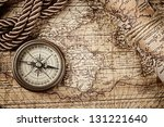 vintage  still life with compass and old map - stock photo