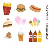 various fast foods | Shutterstock . vector #131225147