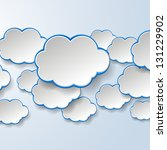 Abstract white paper speech bubbles on light blue background. Cloud services concept. Vector eps10 illustration - stock vector