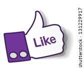 Thumbs up paper sticker used in a social networks. Vector eps10 illustration - stock vector