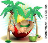 Relax Exotic Summer Holidays on Hammock Clip Art - stock photo