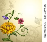 beautiful vintage fantasy spring and summer flowers background - stock photo