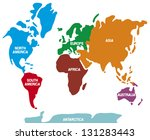 world map with continents  | Shutterstock . vector #131283443