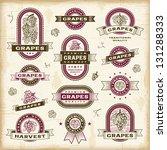vintage grapes labels set.... | Shutterstock .eps vector #131288333
