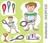 little tennis champion. | Shutterstock .eps vector #131297123