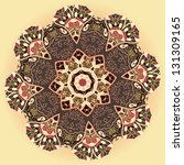 Oriental mandala motif round lase pattern on the yellow background, like snowflake or mehndi paint color background - stock vector