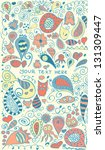 floral animal kids pattern with ... | Shutterstock .eps vector #131309447