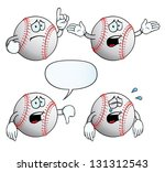Collection of crying baseballs with various gestures.