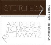 Stitched Font Alphabet A through Z. EPS 8 vector, grouped for easy editing. No open shapes or paths.