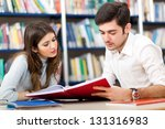 people studying together in a... | Shutterstock . vector #131316983