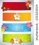Vector - Beautiful Spring Flowers Set of Banners - stock vector