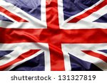 Closeup of Union Jack flag - stock photo