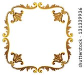 3d gold framework on a white background - stock photo