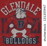 "Retro ""Bulldogs"" athletic design complete with bulldog mascot vector illustration, vintage athletic fonts and matching textures - stock vector"