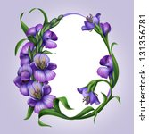 oval egg shaped frame with beautiful lilac spring flowers - stock photo