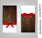 holiday banners with a red bow... | Shutterstock .eps vector #131378777