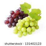 Fresh Red And Green Grapes Wit...