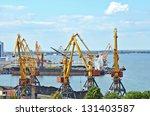 cargo crane  freight ship and... | Shutterstock . vector #131403587