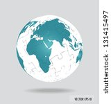 puzzle globe. vector... | Shutterstock .eps vector #131415497