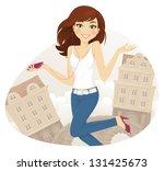 teenage girl listening to music | Shutterstock .eps vector #131425673