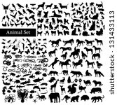 Set of animals silhouettes - stock vector