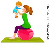 mother playing with her baby on ... | Shutterstock .eps vector #131440283
