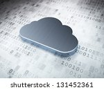 Networking concept: Silver Cloud on digital background, 3d render - stock photo