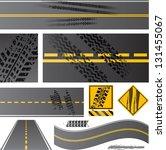 asphalt road vector with tire... | Shutterstock .eps vector #131455067
