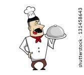 cartoon chef with serving tray... | Shutterstock .eps vector #131458643