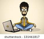 user in gray shirt and glasses... | Shutterstock .eps vector #131461817