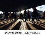 People Walking Near The Metro...