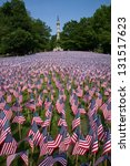 20,000 American Flags are displayed for every resident of Massachusetts who died in a war over the past 100 years, Boston Common, Boston, MA, Memorial Day, 2011 - stock photo