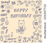 doodle birthday card with cute... | Shutterstock .eps vector #131547713