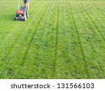 Man mowing grass with grass-mower - stock photo