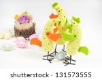 Easter chicken family - stock photo