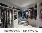 Walk In Wardrobe - stock photo