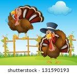 Illustration Of A Turkey Above...