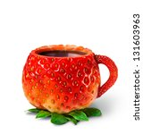 Cup From A Strawberry With Hot...