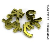 3D golden currency symbols set on white background illustration - stock photo