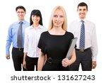 group of business people with... | Shutterstock . vector #131627243