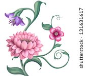 pink lotus illustration; garden floral background - stock photo