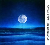 full moon and a blue landscape | Shutterstock . vector #131649107